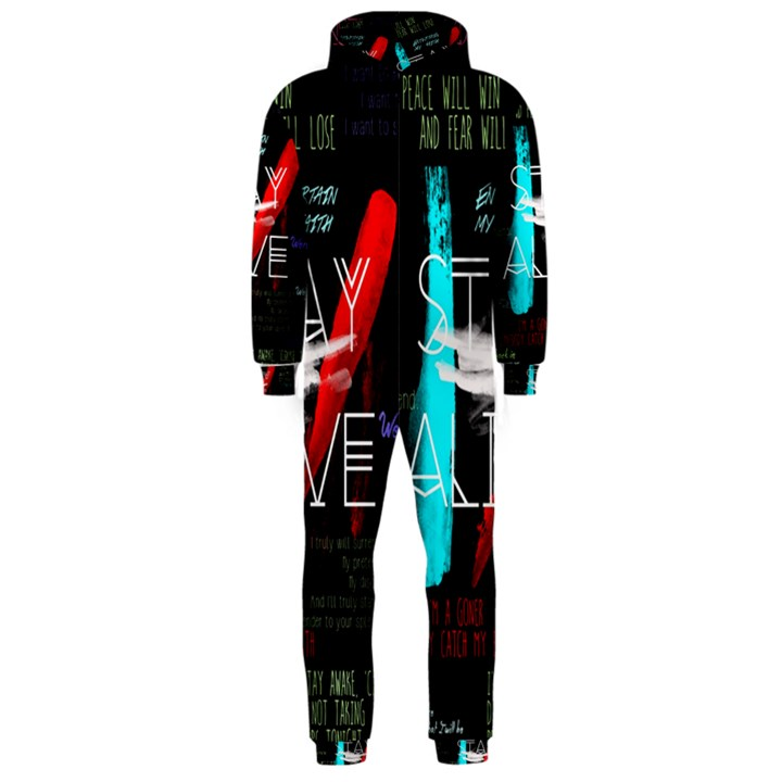 Twenty One Pilots Stay Alive Song Lyrics Quotes Hooded Jumpsuit (Men)