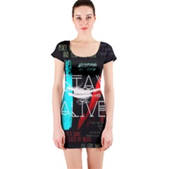 Twenty One Pilots Stay Alive Song Lyrics Quotes Short Sleeve Bodycon Dress