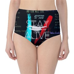 Twenty One Pilots Stay Alive Song Lyrics Quotes High-Waist Bikini Bottoms