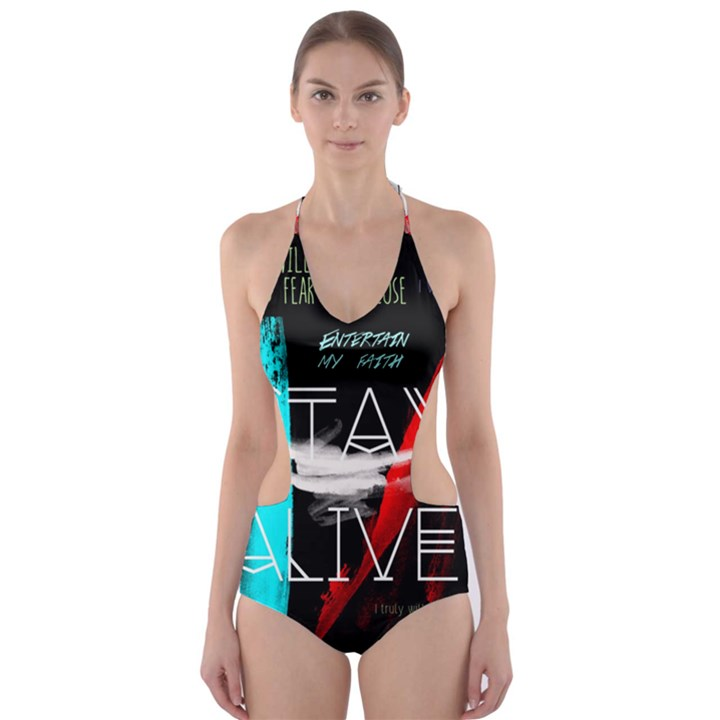 Twenty One Pilots Stay Alive Song Lyrics Quotes Cut-Out One Piece Swimsuit