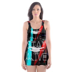 Twenty One Pilots Stay Alive Song Lyrics Quotes Skater Dress Swimsuit