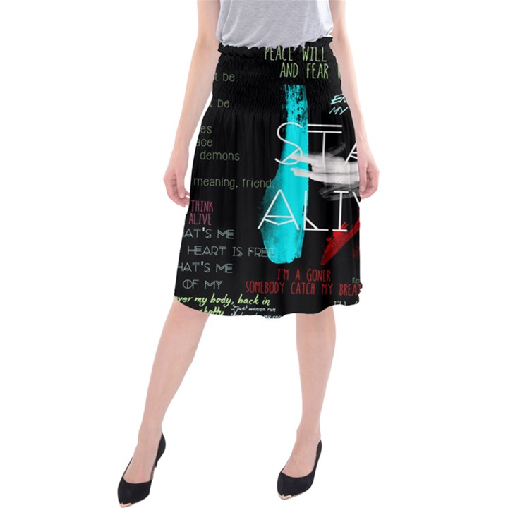 Twenty One Pilots Stay Alive Song Lyrics Quotes Midi Beach Skirt