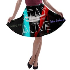 Twenty One Pilots Stay Alive Song Lyrics Quotes A-line Skater Skirt