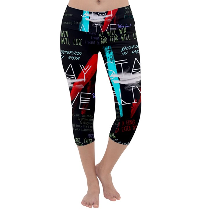 Twenty One Pilots Stay Alive Song Lyrics Quotes Capri Yoga Leggings