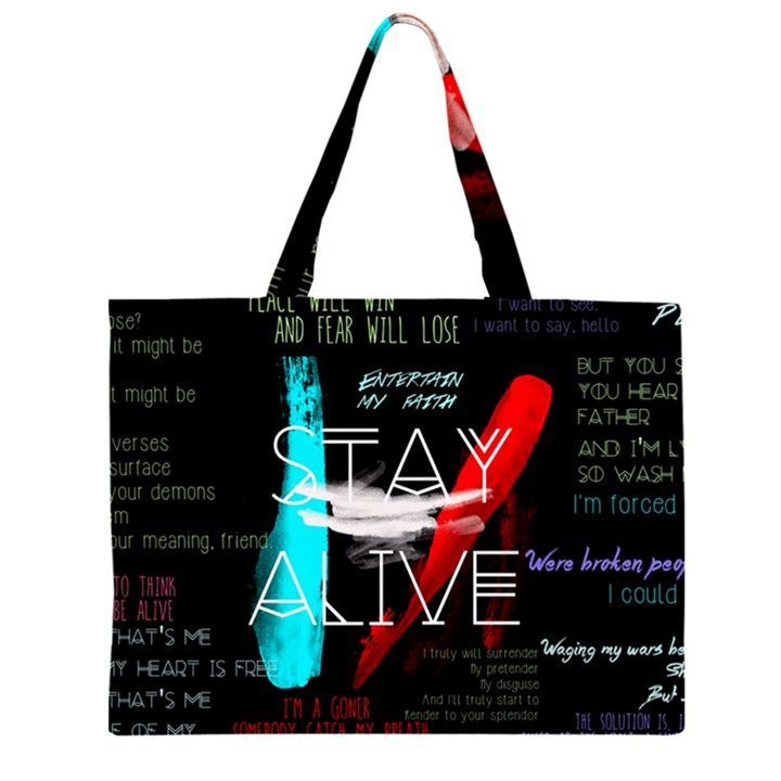 Twenty One Pilots Stay Alive Song Lyrics Quotes Large Tote Bag