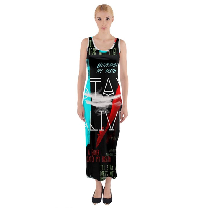 Twenty One Pilots Stay Alive Song Lyrics Quotes Fitted Maxi Dress