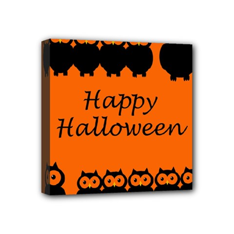 Happy Halloween   Owls Mini Canvas 4  X 4