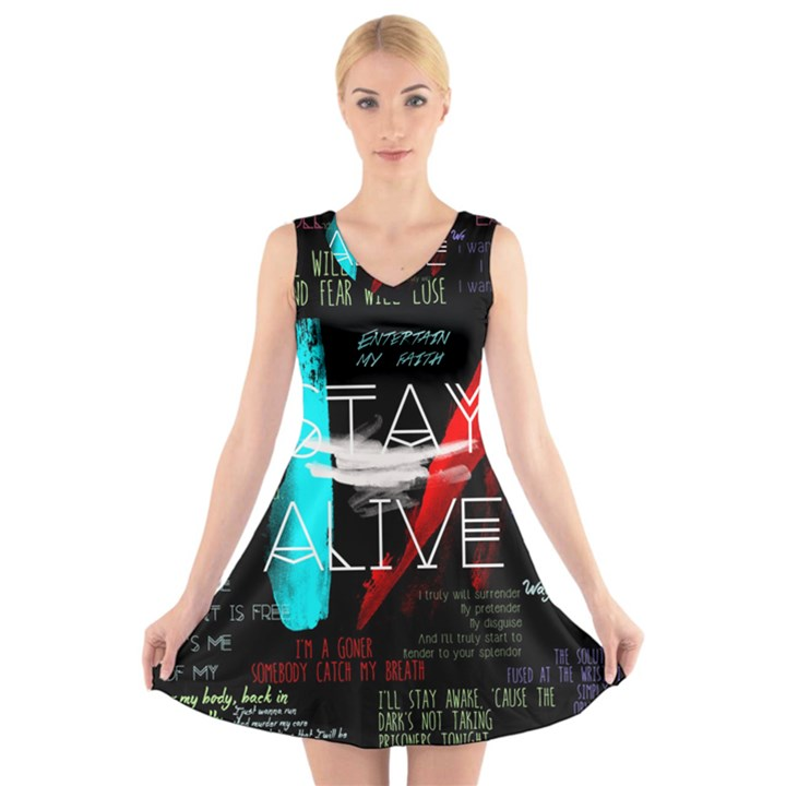 Twenty One Pilots Stay Alive Song Lyrics Quotes V-Neck Sleeveless Skater Dress