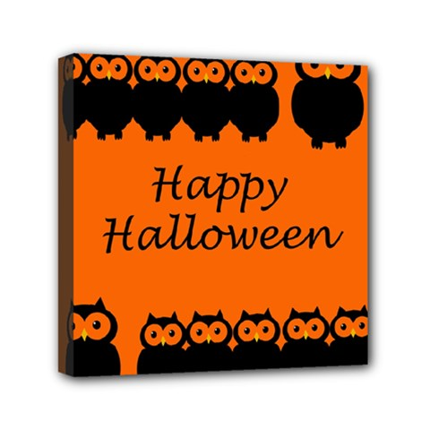 Happy Halloween   Owls Mini Canvas 6  X 6
