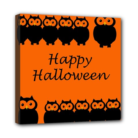 Happy Halloween   Owls Mini Canvas 8  X 8