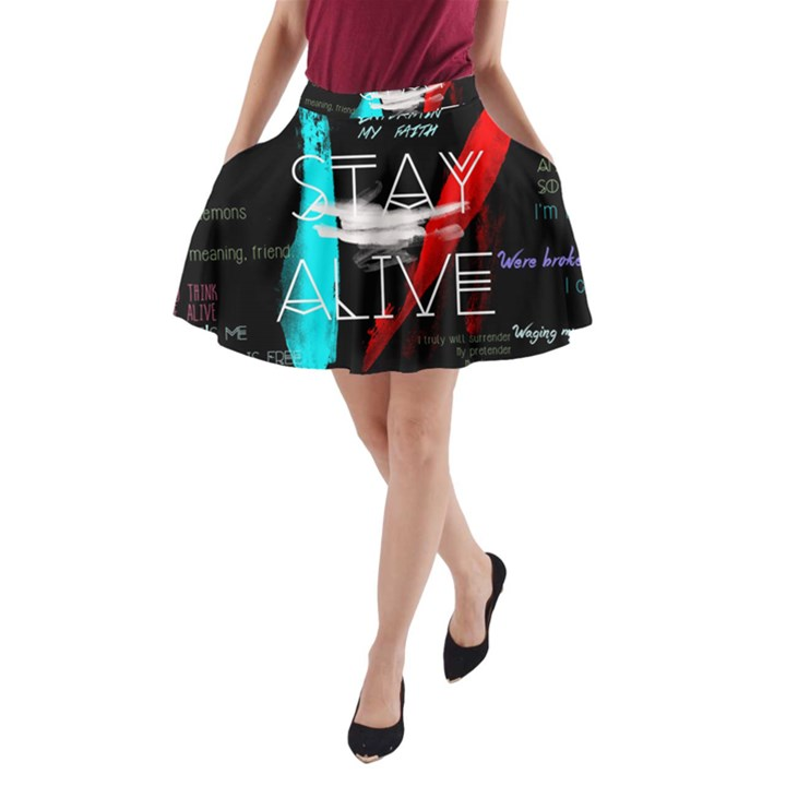 Twenty One Pilots Stay Alive Song Lyrics Quotes A-Line Pocket Skirt