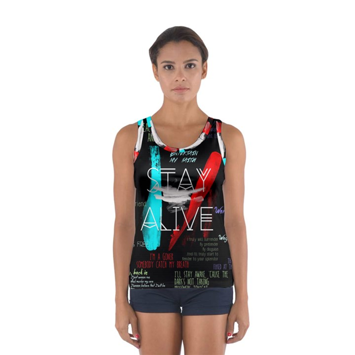Twenty One Pilots Stay Alive Song Lyrics Quotes Women s Sport Tank Top