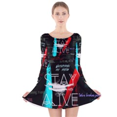 Twenty One Pilots Stay Alive Song Lyrics Quotes Long Sleeve Velvet Skater Dress