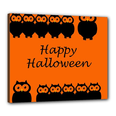 Happy Halloween   Owls Canvas 24  X 20