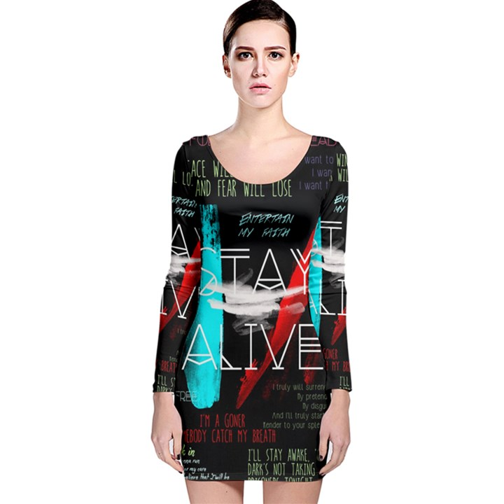 Twenty One Pilots Stay Alive Song Lyrics Quotes Long Sleeve Velvet Bodycon Dress