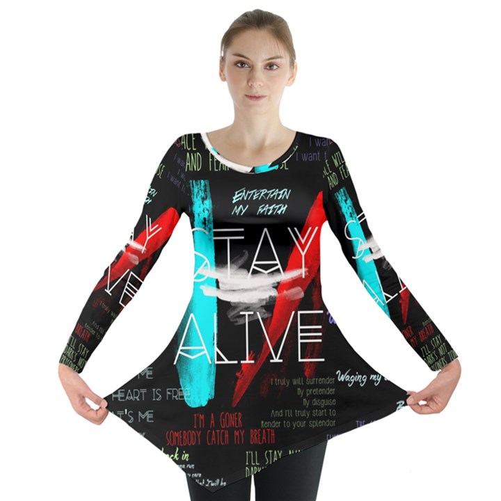 Twenty One Pilots Stay Alive Song Lyrics Quotes Long Sleeve Tunic