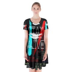 Twenty One Pilots Stay Alive Song Lyrics Quotes Short Sleeve V-neck Flare Dress
