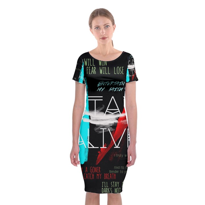 Twenty One Pilots Stay Alive Song Lyrics Quotes Classic Short Sleeve Midi Dress