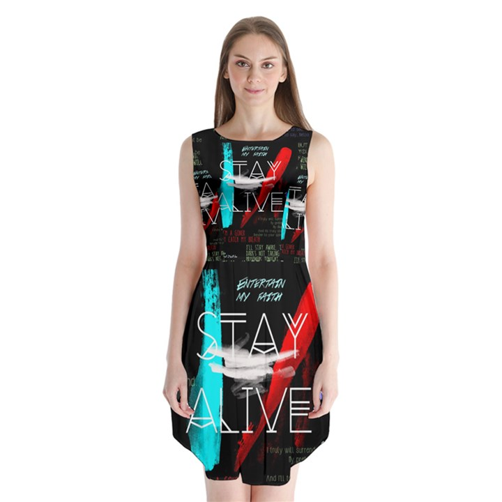 Twenty One Pilots Stay Alive Song Lyrics Quotes Sleeveless Chiffon Dress