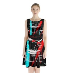 Twenty One Pilots Stay Alive Song Lyrics Quotes Sleeveless Chiffon Waist Tie Dress