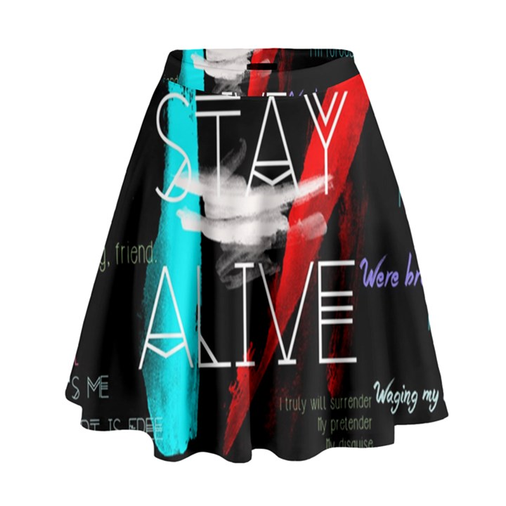 Twenty One Pilots Stay Alive Song Lyrics Quotes High Waist Skirt