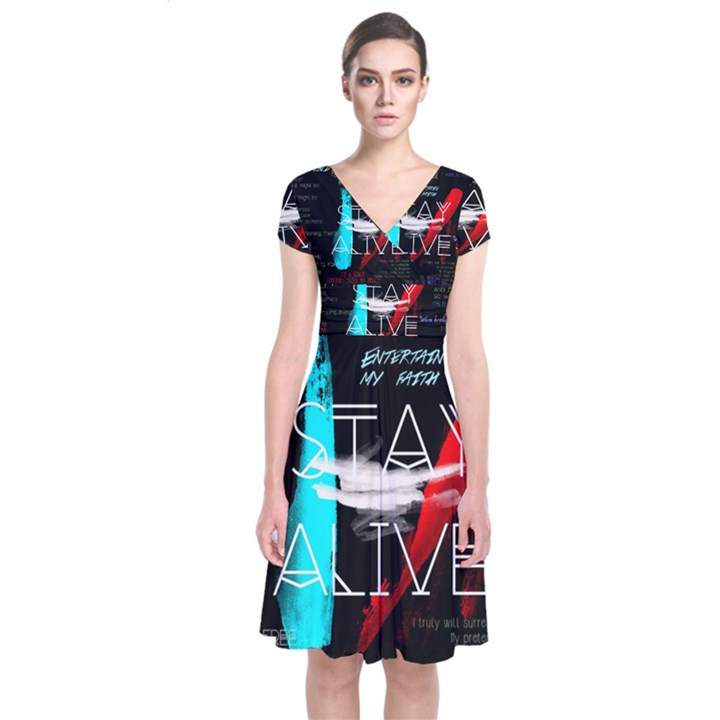 Twenty One Pilots Stay Alive Song Lyrics Quotes Short Sleeve Front Wrap Dress