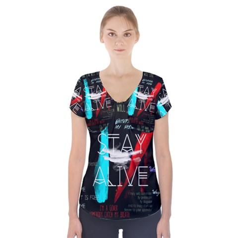 Twenty One Pilots Stay Alive Song Lyrics Quotes Short Sleeve Front Detail Top
