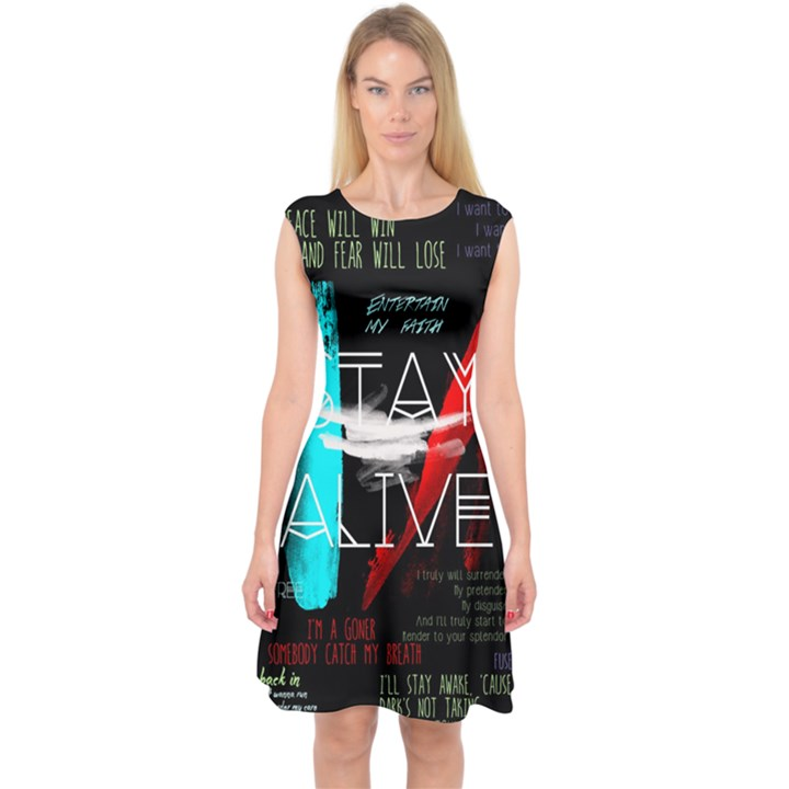 Twenty One Pilots Stay Alive Song Lyrics Quotes Capsleeve Midi Dress