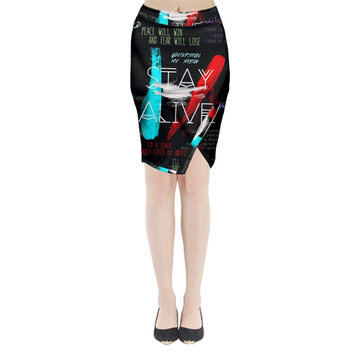 Twenty One Pilots Stay Alive Song Lyrics Quotes Midi Wrap Pencil Skirt