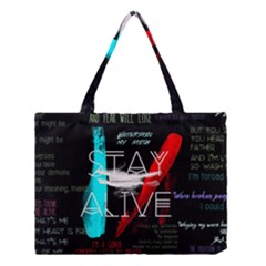 Twenty One Pilots Stay Alive Song Lyrics Quotes Medium Tote Bag