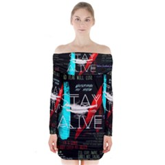 Twenty One Pilots Stay Alive Song Lyrics Quotes Long Sleeve Off Shoulder Dress