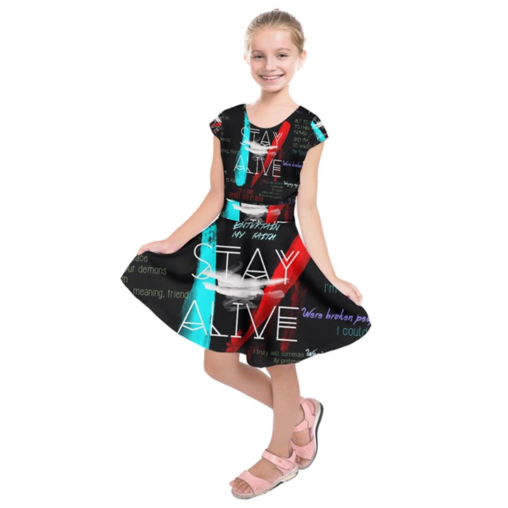 Twenty One Pilots Stay Alive Song Lyrics Quotes Kids  Short Sleeve Dress
