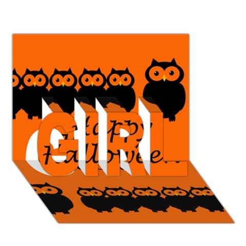 Happy Halloween - owls GIRL 3D Greeting Card (7x5)