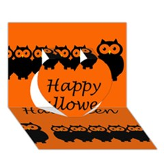 Happy Halloween - owls Heart 3D Greeting Card (7x5)