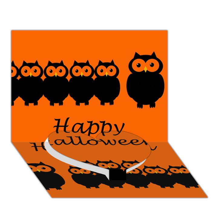 Happy Halloween - owls Heart Bottom 3D Greeting Card (7x5)