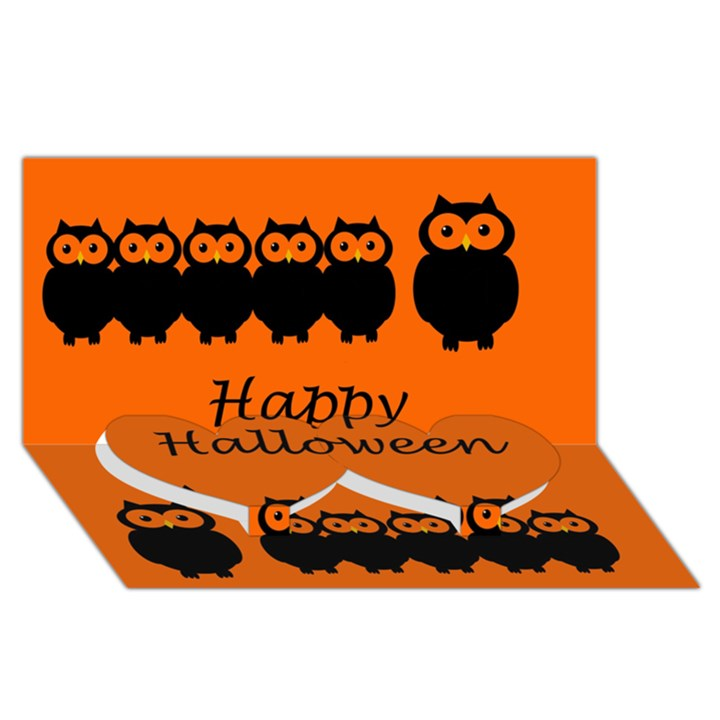 Happy Halloween - owls Twin Heart Bottom 3D Greeting Card (8x4)