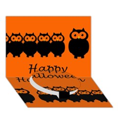 Happy Halloween - owls Circle Bottom 3D Greeting Card (7x5)
