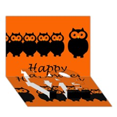 Happy Halloween - owls LOVE Bottom 3D Greeting Card (7x5)