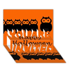 Happy Halloween   Owls You Are Invited 3d Greeting Card (7x5)