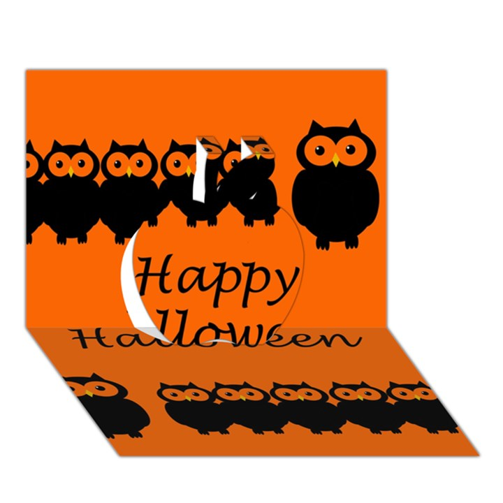 Happy Halloween - owls Apple 3D Greeting Card (7x5)