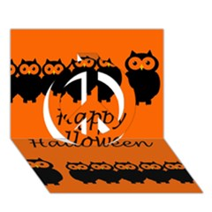 Happy Halloween   Owls Peace Sign 3d Greeting Card (7x5)