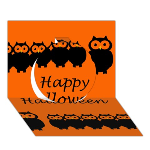 Happy Halloween - owls Circle 3D Greeting Card (7x5)