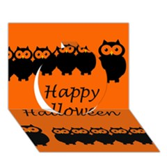 Happy Halloween - owls Circle 3D Greeting Card (7x5)