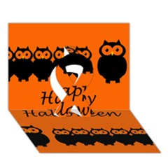 Happy Halloween - owls Ribbon 3D Greeting Card (7x5)