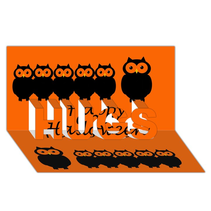 Happy Halloween - owls HUGS 3D Greeting Card (8x4)
