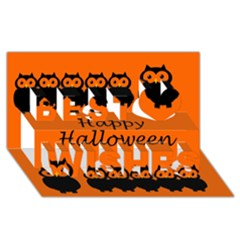 Happy Halloween   Owls Best Wish 3d Greeting Card (8x4)