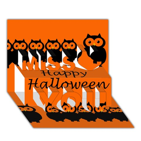 Happy Halloween - owls Miss You 3D Greeting Card (7x5)