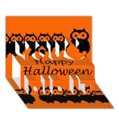 Happy Halloween - owls You Did It 3D Greeting Card (7x5)