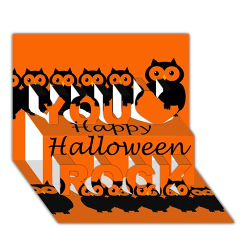 Happy Halloween - owls You Rock 3D Greeting Card (7x5)