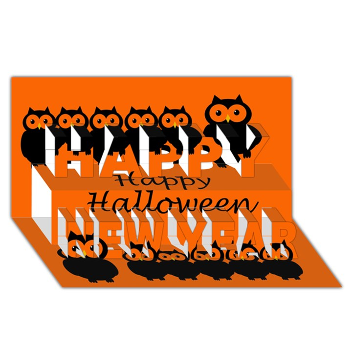 Happy Halloween - owls Happy New Year 3D Greeting Card (8x4)